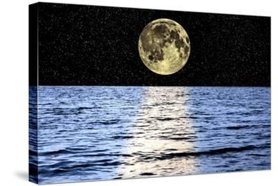 Moon Over the Sea, Composite Image-Victor De Schwanberg-Stretched Canvas Print