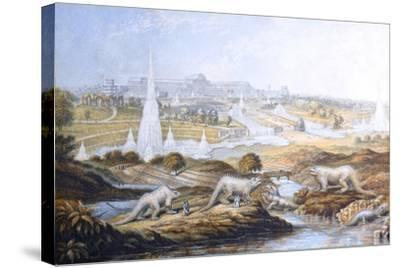 1854 Crystal Palace Dinosaurs by Baxter 2-Paul Stewart-Stretched Canvas Print