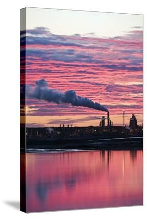Oil Refinery At Sunset-David Nunuk-Stretched Canvas Print