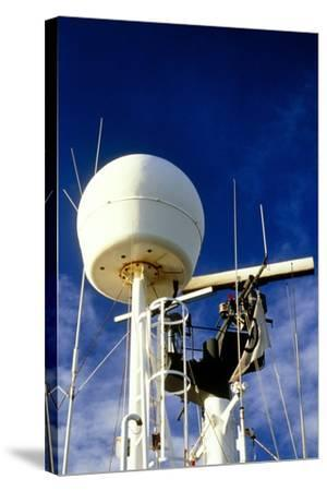 Satellite Receiver on Board the Golar Petrograde-David Parker-Stretched Canvas Print