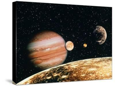 Jupiter And the Galilean Moons Seen From Callisto-Science Photo Library-Stretched Canvas Print
