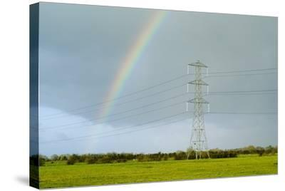 Rainbow Over Power Lines-Duncan Shaw-Stretched Canvas Print