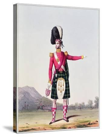 """An Officer of the 92nd Highland Regiment of Foot from Spooner's Upright Series of """"Costume of the…--Stretched Canvas Print"""