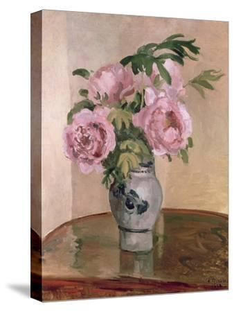 A Vase of Peonies, 1875-Camille Pissarro-Stretched Canvas Print