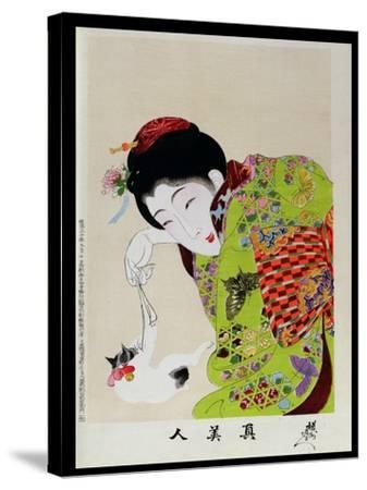 Shin Bijin (True Beauties) Depicting a Woman Playing with a Kitten, from a Series of 36, Modelled…-Toyohara Chikanobu-Stretched Canvas Print