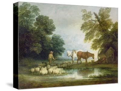 Shepherd by a Stream-Thomas Gainsborough-Stretched Canvas Print