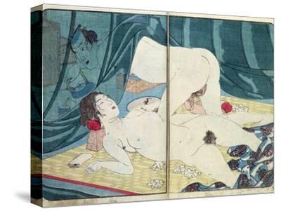 A 'Shunga' (Erotic) Print: 'All Passion Spent - the Satisfied Woman', C.1855-Kuniyoshi Utagawa-Stretched Canvas Print