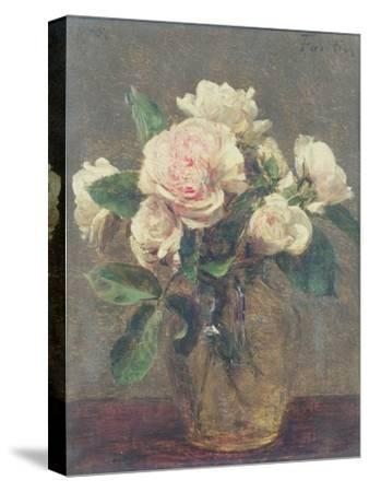 White Roses in a Glass Vase, 1875-Henri Fantin-Latour-Stretched Canvas Print