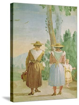 Two Peasant Women and a Child Seen from Behind, from the 'Foresteria' (Guesthouse) 1757-Giandomenico Tiepolo-Stretched Canvas Print