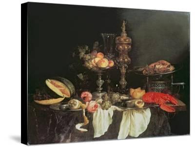 Still Life with a Lobster and a Turkey-Abraham Hendricksz Van Beyeren-Stretched Canvas Print