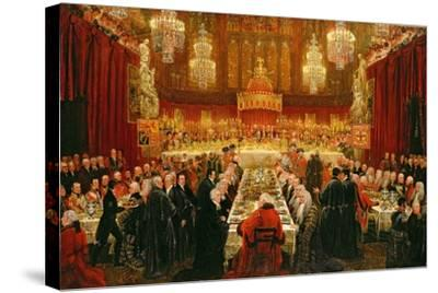 Banquet Given by the Corporation of London to the Prince Regent, the Emperor of Russia and the…-Luke Clennell-Stretched Canvas Print