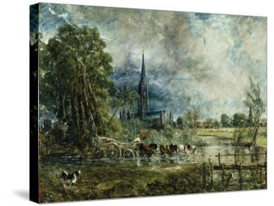 Salisbury Cathedral from the Meadows, 1829-31-John Constable-Stretched Canvas Print