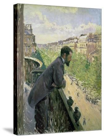 Man on a Balcony, C.1880-Gustave Caillebotte-Stretched Canvas Print