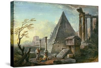 Pyramid of Caius Cestius at Rome-Jean-Baptiste Lallemand-Stretched Canvas Print