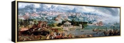 Panoramic Fantasy with the Abduction of Helen, 1535-Maerten van Heemskerck-Framed Stretched Canvas Print