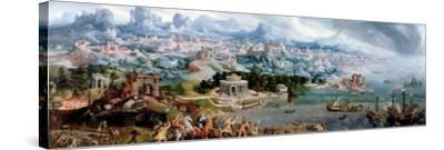 Panoramic Fantasy with the Abduction of Helen, 1535-Maerten van Heemskerck-Stretched Canvas Print