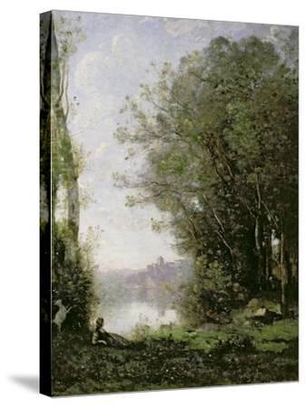 The Goatherd Beside the Water-Jean-Baptiste-Camille Corot-Stretched Canvas Print