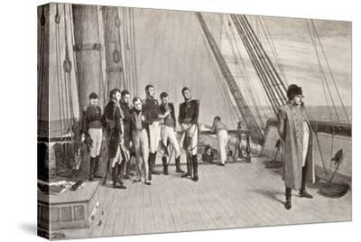 Napoleon (1769-1821) on Board the Bellerophon-English School-Stretched Canvas Print