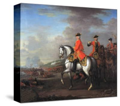 King George II (1683-1760) at the Battle of Dettingen, with the Duke of Cumberland and Robert,…-John Wootton-Stretched Canvas Print
