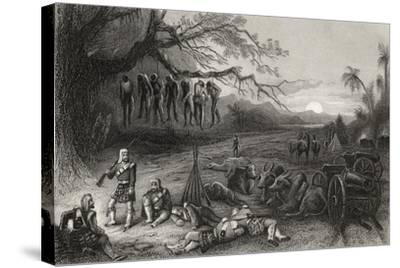Outlying Picket of the Highland Brigade at Benares, from 'The History of the Indian Mutiny'…--Stretched Canvas Print