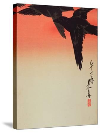 Crows in Flight at Sunrise, 1888-Shibata Zeshin-Stretched Canvas Print