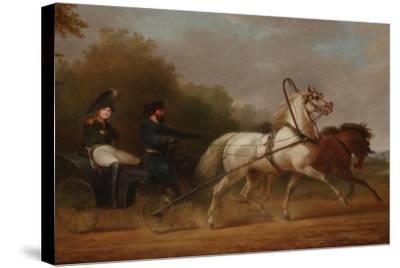 Tsar Alexander I Driving a Droschki-Alexander Ivanovich Sauerweid-Stretched Canvas Print
