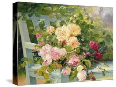 Roses on the Bench-Eugene Henri Cauchois-Stretched Canvas Print