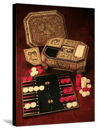 Antique Backgammon Set and Boards--Stretched Canvas Print