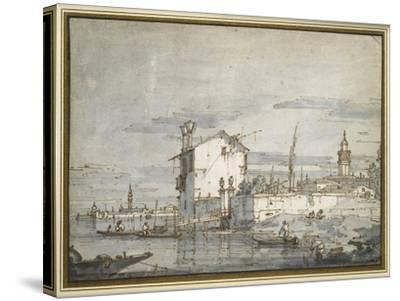 An Island in the Lagoon-Canaletto-Stretched Canvas Print