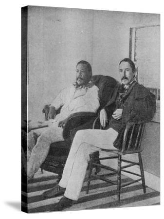Robert Louis Stevenson with King Kalakaua of Hawaii on the Verandah of the Royal Boat House at…--Stretched Canvas Print