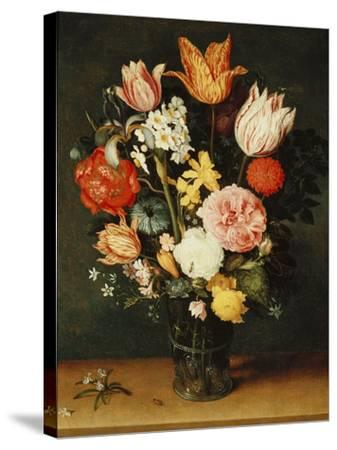 Tulips, Roses and Other Flowers in a Glass Vase-Balthasar van der Ast-Stretched Canvas Print