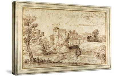 Landscape with a Castle and the Ruins of a Classical Portico-Annibale Carracci-Stretched Canvas Print