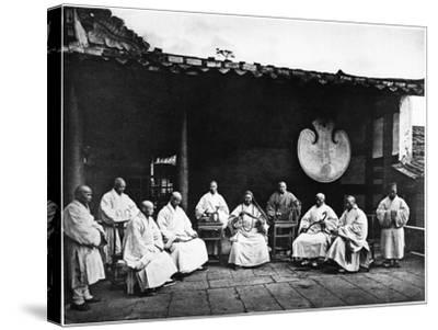 The Abbot and Monks of Kushan Monastery, C.1867-72-John Thomson-Stretched Canvas Print