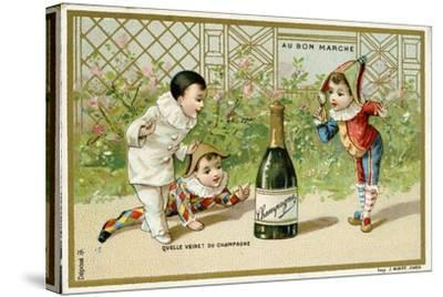 What Luck! a Bottle of Champagne', Promotional Card for the Parisian Department Store 'Au Bon…--Stretched Canvas Print