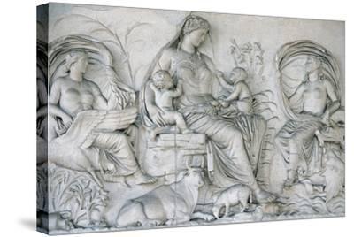 Ara Pacis Augustae. Tellus Panel--Stretched Canvas Print