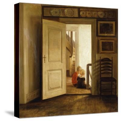 Children in an Interior-Carl Holsoe-Stretched Canvas Print