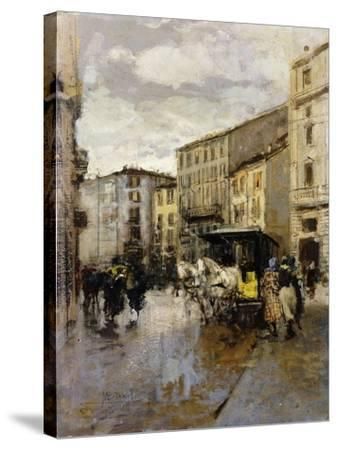 A Street Scene, Milan-Mose Bianchi-Stretched Canvas Print