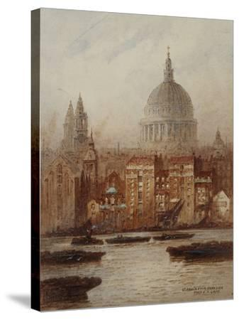 Saint Paul's from Bankside-Frederick E.J. Goff-Stretched Canvas Print