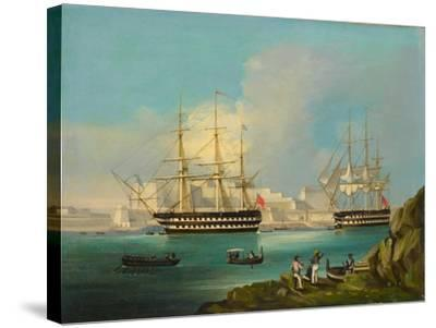 Plymouth Harbour with Shipping--Stretched Canvas Print