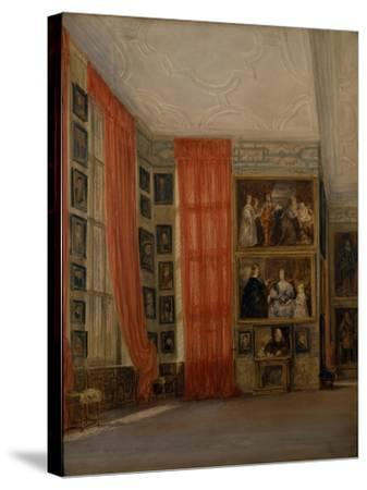 The Long Gallery at Hardwick-David Cox-Stretched Canvas Print