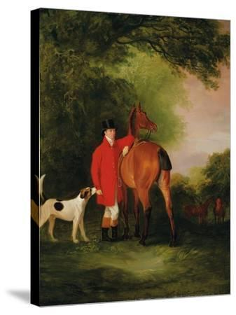 Portrait of Lord Lismore in a Hunting Coat with His Bay Hunter and a Hound, in a Landscape, a…-John E^ Ferneley-Stretched Canvas Print