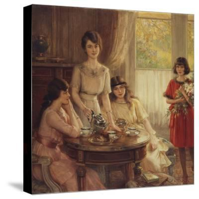 Tea Time-Albert Lynch-Stretched Canvas Print
