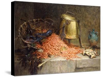 A Lobster, Shrimps and a Crab by an Urn on a Stone Ledge-Magne Desire-Alfred-Stretched Canvas Print