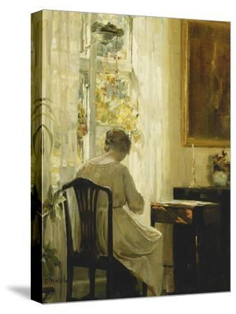 A Woman in an Interior-Carl Holsoe-Stretched Canvas Print