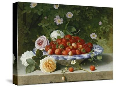 Strawberries in a Blue and White Buckelteller with Roses and Sweet Briar on a Ledge-William		 Hammer-Stretched Canvas Print