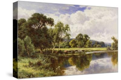 A Wooded River Landscape with Cattle-Henry H.		 Parker-Stretched Canvas Print