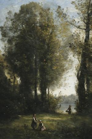 Picking Daisies-Jean-Baptiste-Camille Corot-Stretched Canvas Print