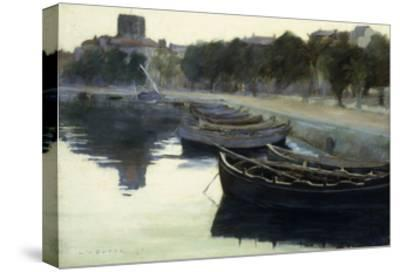 Boats at their Moorings-Victor Dupre-Stretched Canvas Print