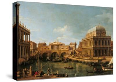 Capriccio with Palladian Buildings-Canaletto-Stretched Canvas Print