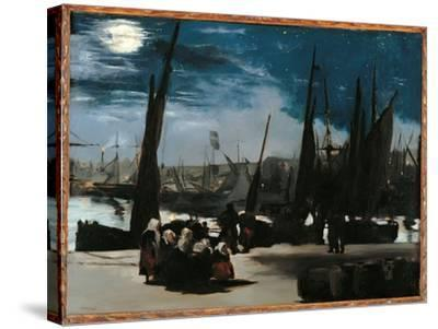 Moonlight Over the Port of Boulogne-Edouard Manet-Stretched Canvas Print